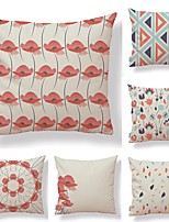 cheap -6 pcs Textile / Cotton / Linen Pillow case, Floral / Flamingo / Printing Square Shaped / Accent / Decorative