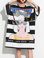 abordables -Tee-shirt Femme, Rayé / Portrait - Coton Ample