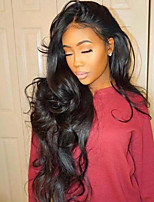cheap -Remy Human Hair Full Lace Wig Brazilian Hair / Body Wave Wavy 130% Density Natural Hairline / With Bleached Knots Women's Long Human Hair Lace Wig