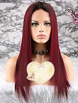 Недорогие -Remy Парик Бразильские волосы Прямой Стрижка каскад 130% плотность С детскими волосами / 100% девственница Вино Короткие / Длинные /