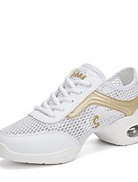 cheap -Women's Dance Sneakers Breathable Mesh Sneaker Low Heel Customizable Dance Shoes White / Black