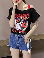 cheap -Women's T-shirt - Letter / Animal Off Shoulder