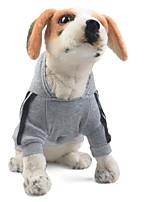 baratos -Cachorros / Gatos Camisola com Capuz Roupas para Cães Sólido / Listrado Vermelho / Azul / Rosa claro Algodão Ocasiões Especiais Para