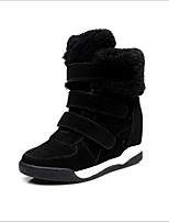 cheap -Women's Shoes Leather Winter Snow Boots Comfort Boots Flat Heel for Black Gray Khaki