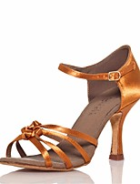 cheap -Women's Latin Shoes Silk Sandal / Heel Stiletto Heel Dance Shoes Gold / Performance / Leather / Practice