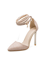 cheap -Women's Shoes Leatherette Summer Comfort Heels Stiletto Heel Pointed Toe Gold / Silver / Red