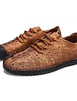 Недорогие -Муж. обувь Нубук Лето Светодиодные подошвы Туфли на шнуровке С отверстиями для Повседневные Черный Желтый Хаки