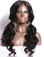 cheap -Remy Human Hair Full Lace Wig Brazilian Hair Body Wave Wig Middle Part 130% Natural Hairline / With Bleached Knots Women's Long Human Hair Lace Wig
