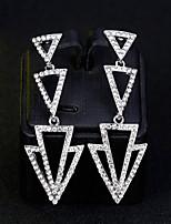 baratos -Mulheres Brincos Compridos - Simples, Europeu, Fashion Prata Para Casamento / Diário