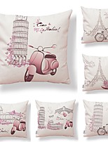 cheap -6 pcs Textile / Cotton / Linen Pillow case, Art Deco / Simple / Printing Square Shaped / Accent / Decorative