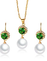 cheap -Women's Cubic Zirconia Jewelry Set - Pearl Flower Classic, Vintage, Elegant Include Drop Earrings / Choker Necklace / Bridal Jewelry Sets Green For Wedding / Party / Engagement