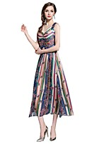 cheap -SHE IN SUN Women's Boho Sheath Dress - Striped / Geometric Print