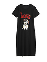 abordables -Tee-shirt Femme, Couleur Pleine / Lettre / Animal - Coton