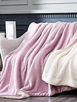 baratos -Velocino de Coral, Fios Tingidos Sólido Algodão / Poliéster Fibras Acrilicas cobertores