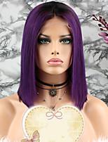 Недорогие -Remy Парик Бразильские волосы Прямой Стрижка каскад / Стрижка боб 130% плотность С детскими волосами / 100% девственница Фиолетовый