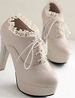 baratos -Mulheres Sapatos Couro Ecológico Outono Conforto Saltos Salto Agulha Preto / Bege / Marron