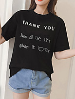 cheap -Women's Cotton T-shirt - Solid Colored / Letter