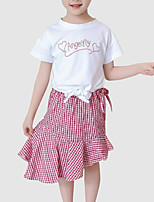 cheap -Kids Girls' Print Plaid Short Sleeves Clothing Set