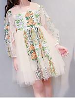 Недорогие -Дети Девочки Однотонный Цветочный принт Длинный рукав Платье