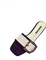 cheap -Women's Shoes PU Summer Comfort Slippers & Flip-Flops Block Heel Round Toe Rhinestone for White Black