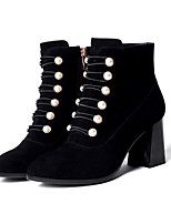 Недорогие -Жен. Обувь Нубук Зима Ботильоны Ботинки На толстом каблуке Ботинки Черный