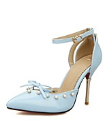 cheap -Women's Shoes Leatherette Spring & Summer Ankle Strap Heels Stiletto Heel Pointed Toe Bowknot / Imitation Pearl / Buckle Green / Blue /