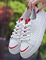 Недорогие -Жен. Обувь Полотно Весна Удобная обувь Кеды На плоской подошве Белый / Черный / Красный