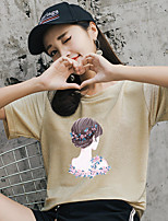 cheap -Women's Basic T-shirt - Solid Colored / Portrait Sequins / Print