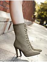 baratos -Mulheres Sapatos Flanelado Outono & inverno Coturnos Botas Salto Agulha Dedo Apontado Botas Cano Médio Preto / Vermelho / Amêndoa