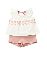 cheap -Kids Girls' Solid Colored Color Block Short Sleeves Clothing Set