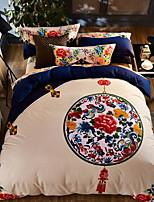 Недорогие -Пододеяльник наборы В китайском стиле Полиэстер / Хлопок Активный краситель 4 предмета