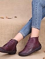 baratos -Mulheres Sapatos Pele Pele Napa Primavera Outono Conforto Botas Sem Salto para Preto Roxo Amarelo