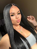 cheap -Remy Human Hair Full Lace Wig Brazilian Hair Straight Wig 130% Natural Hairline / With Bleached Knots Women's Long Human Hair Lace Wig