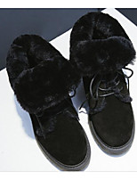 Недорогие -Жен. Обувь Кожа Зима Зимние сапоги Ботинки На толстом каблуке Черный