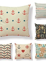 cheap -6 pcs Textile / Cotton / Linen Pillow case, Art Deco / Printing / Anchor Simple / Square Shaped