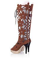Недорогие -Жен. Обувь Полиуретан Весна лето Оригинальная обувь / Модная обувь Ботинки На шпильке Открытый мыс Сапоги до середины икры Красный /