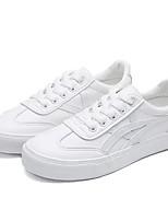 Недорогие -Жен. Обувь Искусственное волокно Весна / Осень Удобная обувь Кеды На плоской подошве Круглый носок Белый / Черно-белый