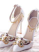 cheap -Women's Shoes PU(Polyurethane) Summer Novelty / Basic Pump Wedding Shoes Stiletto Heel Pointed Toe Rhinestone / Bowknot / Buckle White