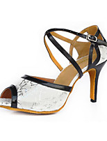 cheap -Women's Latin Shoes Leatherette Heel Performance Outdoor Stiletto Heel Black / White