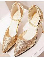abordables -Femme Chaussures Polyuréthane Automne Confort / Escarpin Basique Chaussures à Talons Talon Aiguille Or / Noir / Argent