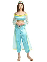 cheap -Princess Jasmine / More Costumes Outfits Women's Halloween / Carnival / Day of the Dead Festival / Holiday Halloween Costumes Blue Solid