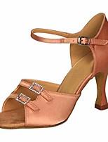 abordables -Femme Chaussures Latines Soie Talon Utilisation Entraînement Talon Aiguille Marron Amande