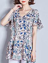 abordables -blouse pour femme - col rond floral