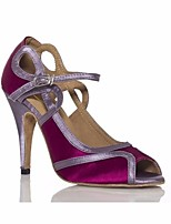 cheap -Women's Latin Shoes Silk Heel Stiletto Heel Dance Shoes Purple / Performance / Leather / Practice