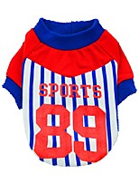 cheap -Dogs / Cats / Pets Shirt / T-Shirt / T-shirts Dog Clothes Striped / Letter & Number Red / Blue Cotton Costume For Pets Male Stripes /