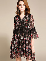 cheap -YHSP Women's Sophisticated / Street chic Flare Sleeve A Line / Chiffon / Swing Dress Lace / Print