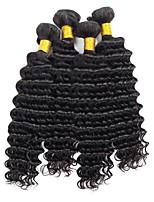 Недорогие -4 Связки Индийские волосы Крупные кудри Натуральные волосы Человека ткет Волосы / One Pack Solution / Накладки из натуральных волос 8-28 дюймовый Ткет человеческих волос