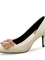 baratos -Mulheres Sapatos Seda Primavera Verão Conforto / Plataforma Básica Saltos Salto Agulha Dedo Apontado Gliter com Brilho Cinzento / Amêndoa