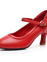 Недорогие -Жен. Обувь для модерна Кожа На каблуках Выступление / Тренировочные На толстом каблуке Танцевальная обувь Черный / Серебряный / Красный