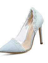 cheap -Women's Shoes Denim Spring & Summer Basic Pump Heels Stiletto Heel Pointed Toe Tassel Dark Blue / Blue / Almond